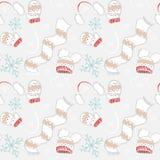 Muster des neuen Jahres von Handschuhen, von Hüten, von Schal und von Schneeflocken Stockfoto