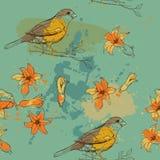 Muster des Vogels und der Blume Stockbild