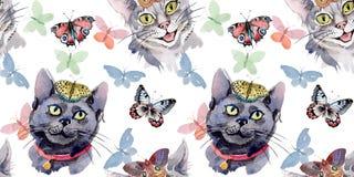 Muster des wilden Tieres der Katze in einer Aquarellart Stockfotografie