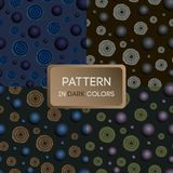 Muster 02 ein Satz Muster in den dunklen Farben, in den Blumen und in den Bällen lizenzfreie abbildung
