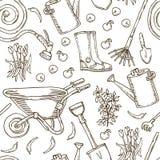 Muster für die Färbung Garten-Werkzeuge und Gemüse vektor abbildung