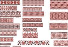 Muster für Stickerei-Stich, Rot und Schwarzes Lizenzfreies Stockfoto