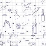 Muster für Valentinstag mit Übungsbucheffekt Lizenzfreies Stockbild