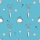 Muster gemacht von den Scheren, von den Nadeln, von den Stiften, von den Faden, vom mouline und vom Nadelkissen lizenzfreie abbildung