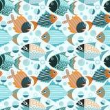Muster-Gewebegewebe der grafischen Fische nahtloses stock abbildung