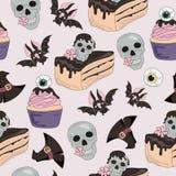 Muster Halloweens nahtlose SCHÄDEL-BONBONS stock abbildung