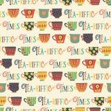 Muster-Hintergrundbeige des Teeschalen-Vektors nahtlose Tee-riffic setzt Zeit Beschriftung fest Frische Erdbeeren und Tee auf Por stock abbildung