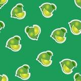 Muster kalken Sie und Blätter mit Scheiben auf grünem Hintergrund Lizenzfreies Stockfoto