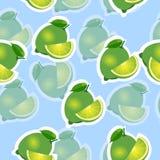 Muster kalken Sie und Blätter und schneidet selbe Größen auf blauem Hintergrund Transparenzkalk Stockfotografie