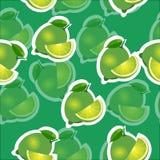 Muster kalken Sie und Blätter und slises selbe Größen auf grünem Hintergrund Transparenzkalk Lizenzfreie Stockbilder