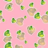 Muster kalken Sie und verschiedene Größen der Blätter auf rosa Hintergrund Transparenzkalk Lizenzfreie Stockfotografie
