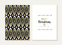 Muster-Kartensatz der frohen Weihnachten Retro- Stammes- Gold Lizenzfreie Stockfotos