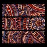 Muster-Kartensatz des abstrakten Vektors ethnischer Lizenzfreie Stockfotos