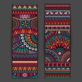 Muster-Kartensatz des abstrakten Vektors ethnischer Lizenzfreies Stockbild