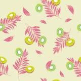 Muster-Kiwischeiben des bunten Sommers nahtlose mit Palmenweide Stockfotos