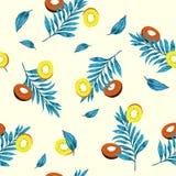 Muster-Kiwischeiben des bunten Sommers nahtlose mit Palmenweide Lizenzfreies Stockfoto