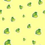 Muster kleiner Kalk und verschiedene Größen der Blätter auf gelbem Hintergrund Lizenzfreies Stockbild