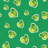 Muster kleiner Kalk und verschiedene Größen der Blätter auf grünem Hintergrund Stockbilder