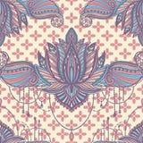 Muster-Lotosblumenmandala der Kunst nahtlose Ethnischer abstrakter Druck Bunte wiederholende Hintergrundbeschaffenheit B?hmische  stock abbildung
