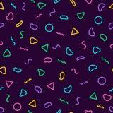 Muster 80 Memphis nahtlose ` s-90 ` s Art Modische Memphis-Art Bunter geometrischer Hintergrund Santa Claus mit der Tasche der Ge Stockbild