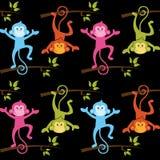 Muster mit Affen mit schwarzem Hintergrund Lizenzfreie Stockfotografie
