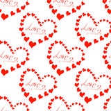 Muster mit Aufschrift Liebe, viele Herzen Lizenzfreie Stockfotografie