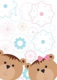 Muster mit Bären und Blumen Lizenzfreie Stockfotografie