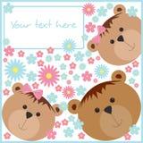 Muster mit Bären und Blumen Lizenzfreie Stockfotos