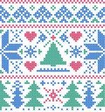 Muster mit Bäumen und Schneeflocken Stockfoto