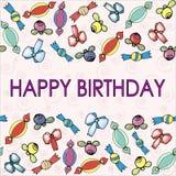 Muster mit Bögen, Beeren und Süßigkeit für Geburtstag stock abbildung