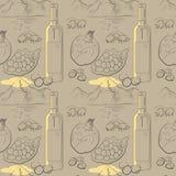 Muster mit Bergen, Schafe, Granatäpfel, Wein Stockbild