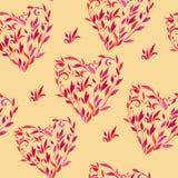 Muster mit Blättern in Form des Herzens Stockfotografie