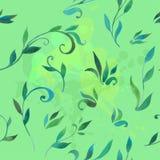 Muster mit Blättern im Aquarell Stockfoto
