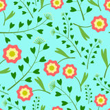 Muster mit Blumen und Gras Lizenzfreies Stockfoto