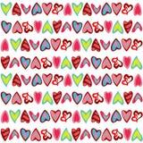 Muster mit bunten Herzen auf Weiß Stockfotos