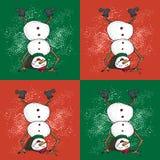 Muster mit dem lustigen Schneemann umgedreht in der Karikaturart Netter Winterurlaub Schwarze Linie Tintenperson im Hut und in ge stockfotografie