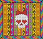 Muster mit dem Schädel und den ethnischen mexikanischen Elementen Tag der Toten, ein traditioneller Feiertag in Mexiko Für Postka Lizenzfreies Stockbild