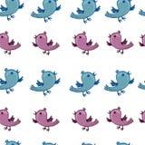 Muster mit den blauen und rosa Vögeln singen Stockfoto