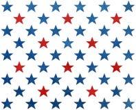 Muster mit den dunkelblauen und roten Aquarellsternen Lizenzfreies Stockbild
