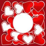 Muster mit den weißen und roten Herzen Stockfotos