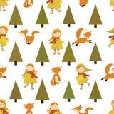 Muster mit einem Mädchen und einem Fox Herbstmuster mit Charakter Lizenzfreies Stockfoto