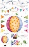 Muster mit einzelnen Elementen für Ihre Selbst Design: Blumen, mit dem Kopfe stoßende Flaggen, bringen Ballon, Blumensträuße, Gir Stockfoto