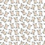 Muster mit emotionalen Hunden auf dem weißen Hintergrund Stockfotografie