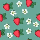 Muster mit Erdbeeren und Blumen Stockbild