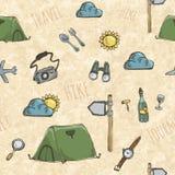 Muster mit Expeditionszelten Lizenzfreies Stockfoto