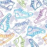 Muster mit farbigen Gummiüberschuhen Stockbilder