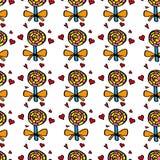 Muster mit farbigen Süßigkeiten Stockfotografie