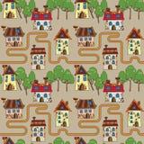 Muster mit feenhaften Häusern und Bäumen Lizenzfreies Stockbild