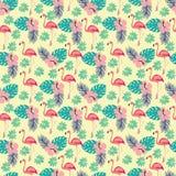 Muster mit Flamingo und Palmblätter, exotische Vögel und Blumen Lizenzfreies Stockfoto