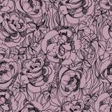 Muster mit freihändiger Skizze der Rosen Stockfotografie